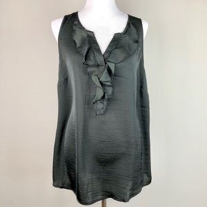 ModCloth Ruffle Neck Silky Black Blouse